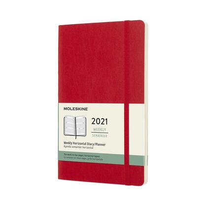Agenda anual Moleskine Classic Large Horizontal 2021 Inglés Semana Rojo