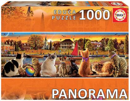 Puzzle Educa Panoramic gatos