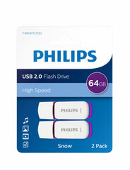BL. 2 MEMORIAS USB PHILIPS SNOW 64GB