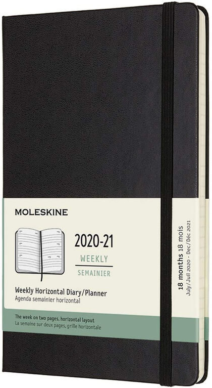Agenda Moleskine 2020 - 2021 18 meses L Semana Vista Inglés Negro (13x21 cm)