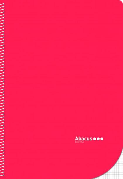 Libreta espiral Abacus Folio 4x4 con margen 50 hojas Rojo 5U