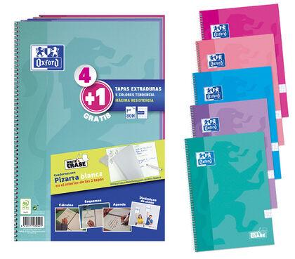 Cuaderno espiral OxfordFºTEXDColores Vivos A4+ 90gr4x4 4+1U