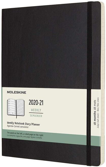 Agenda Moleskine 2020 - 2021 18 meses Quadern XL Semana Vista Inglés Negro (19x25 cm)