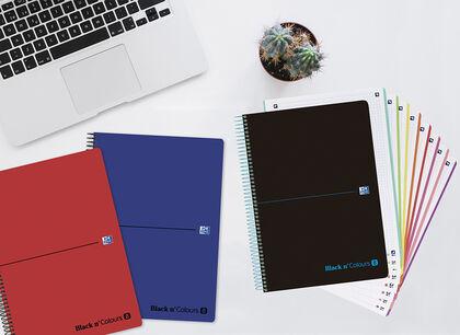 Cuaderno Espiral Oxford Europeanbook 8 Black N'Colours A4 5X5 80F Azul Fosc