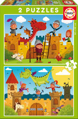 Puzzle Educa Dragones y caballeros 2 unidades