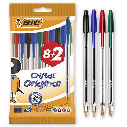 Bolígraf Bic Cristal 8+2 unitats (colors assortits)