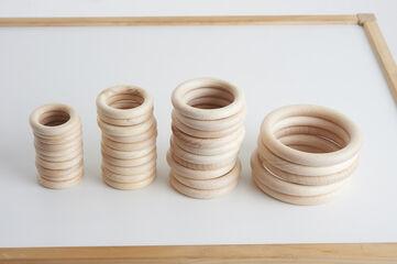 Juego heurístico Thick Educational Piezas de madera Anillas