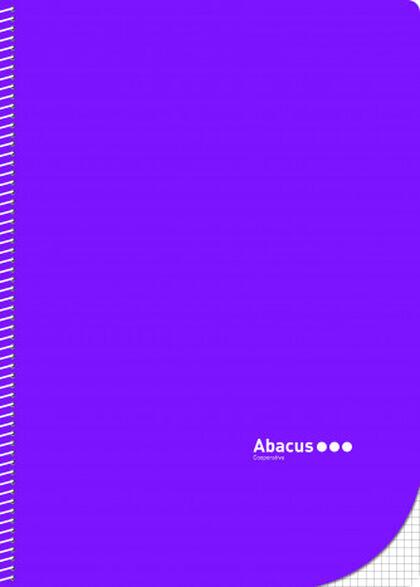 Libreta espiral Abacus A4 4x4 con margen 50 fulls Lila 5U