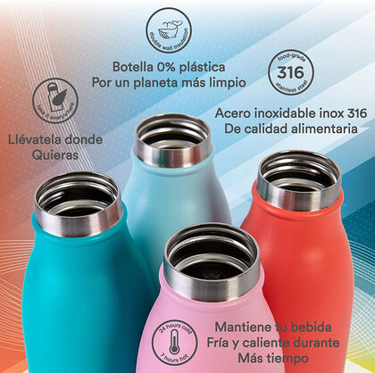 Botella Termo Runbott City Fucsia 350 ml