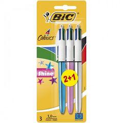 Bolígrafo BIC 4 colores Shine 2+1 unidades