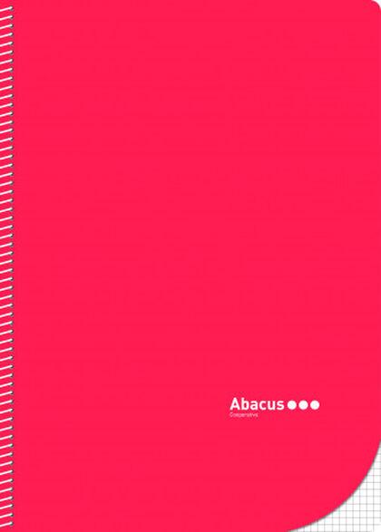 Libreta espiral Abacus A4 4x4 con margen 50 fulls Rojo 5U