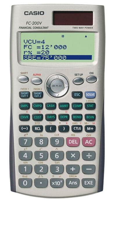 Calculadora Financiera Casio FC 200 V Solar