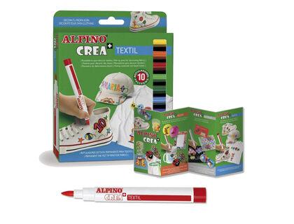 Rotulador textil Alpino Crea+ 10 Colores
