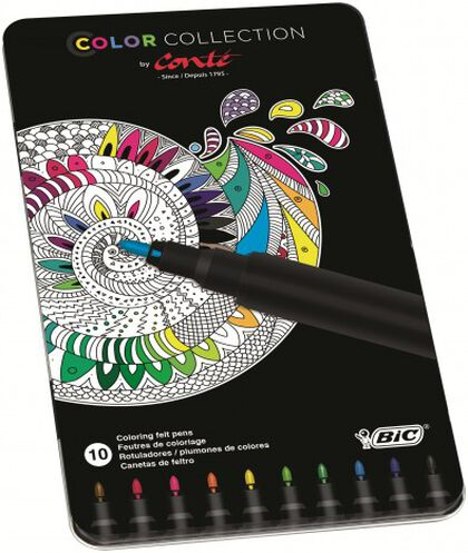 Rotuladores Conté caja metálica - 10 colores