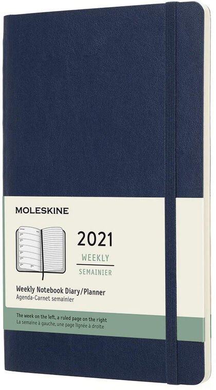 Agenda anual Moleskine Soft Large 2021 Inglés Semana Azul