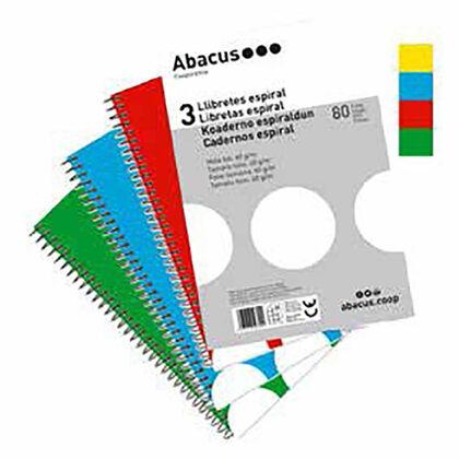 Libreta espiralAbacusFolio 4x4 60gr80 hojas 3 unidades