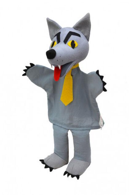 Titella de mà Llop amb corbata