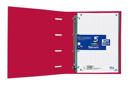 Carpeta Oxford Europeanbinder Classic 4 Anillas Con Recambio A4+ Rojo