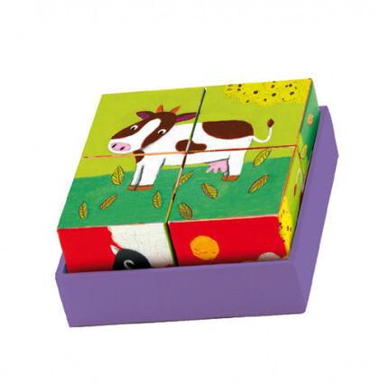 Puzzle Djeco Animales granja 4 cubos
