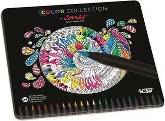 Láipz de colores Conté - Caja metálica con 24 colores
