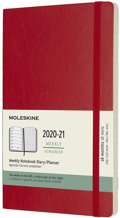 Agenda Moleskine 2020 - 2021 18 meses Cuaderno Semana Vistal L Semana Inglés Rojo (13x21 cm)