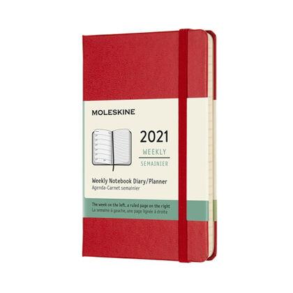Agenda anual Moleskine Classic Large 2021 Inglés Semana Rojo