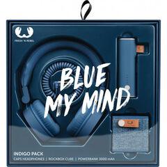 Pack Fresh n Rebel Auriculares + altavoz + batería Azul