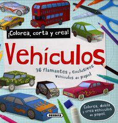 Vehículos - colorea y corta