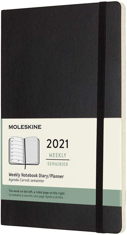 Agenda anual Moleskine Soft Large 2021 Inglés Semana Negro