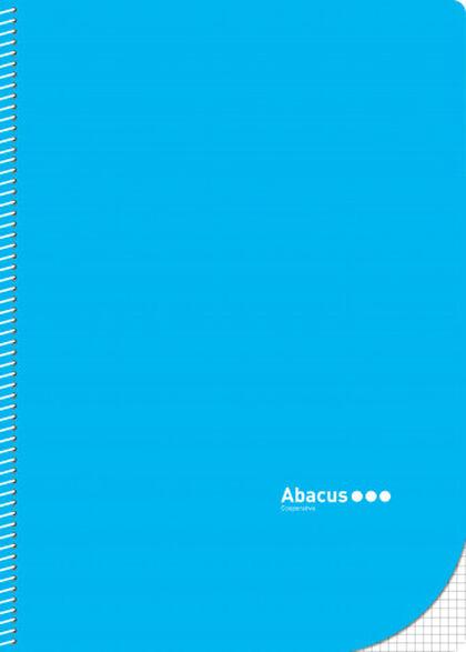 Libreta espiral Abacus A4 4x4 con margen 50 fulls Azul 5U