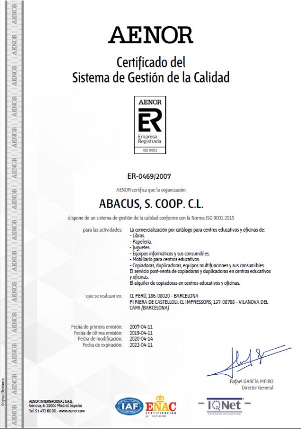 Certificat AENOR