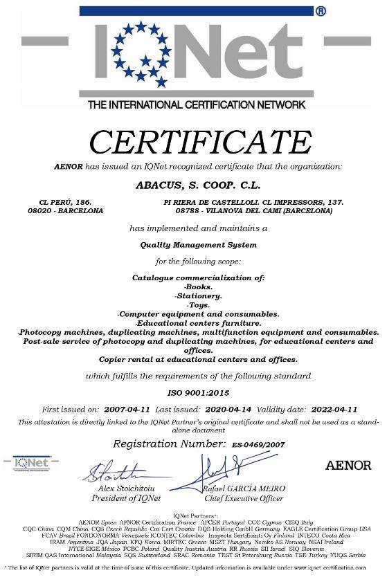IQ Net Certificat